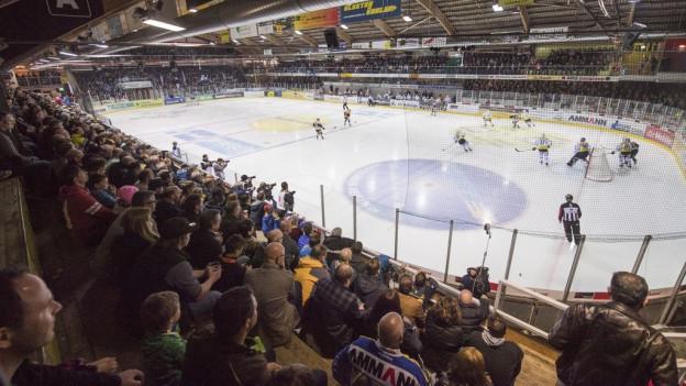 Aufnahme einer Eishalle mit Publikum und Hockeyspielern.