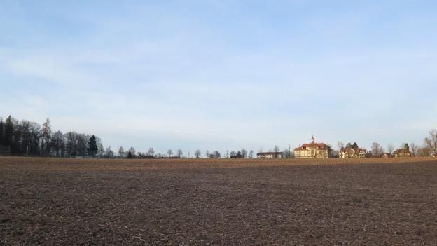 Acker mit altem Gebäude im Hintergrund.
