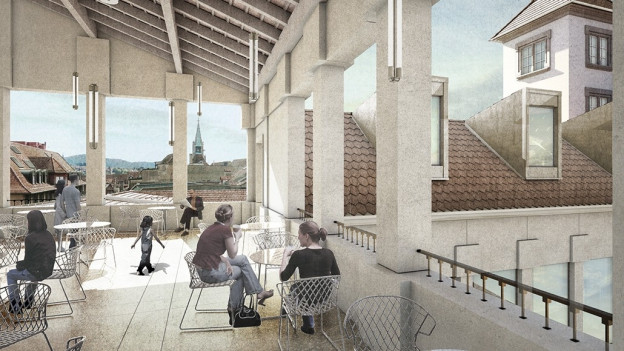 Visualisierung neue Terrasse Migros Marktgasse