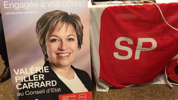 Valérie Piller auf einem Wahlplakat