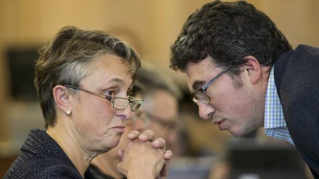 Präsident Bruno Marmier (rechts) wollte den grünen Sitz von Marie Garnier (links) mit einer eigenen Kandidatin besetzen.