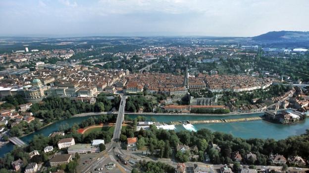 Luftbild Stadt Bern mit Blick Richtung Norden