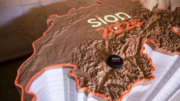 Schweizer Karte mit Logo «Sion2026»