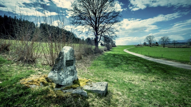 Der Gedenkstein am Tatort auf Christina Aebys letztem Weg.