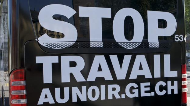 Kampagne in Genf gegen Schwarzarbeit.