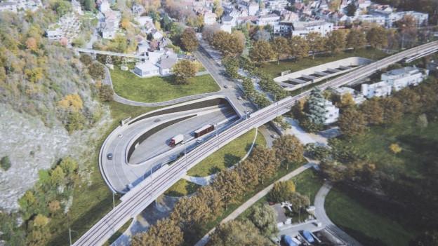 Visualisierung von Stadt und Autobahnanschluss.