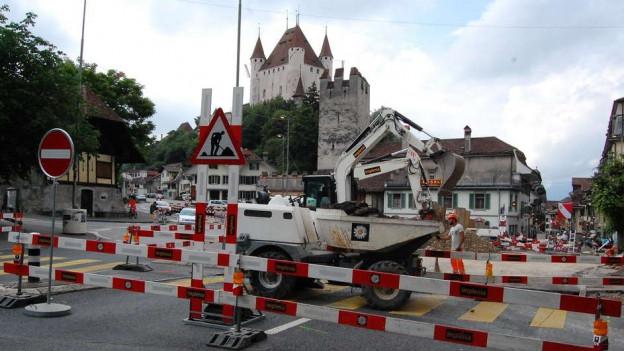 Baustelle Berntorplatz in Thun - ein wichtiger Zugang zu der unteren Altstadt von Thun.