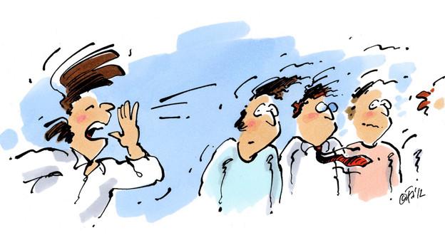 Karikatur: Mann, der Gruppe zuruft