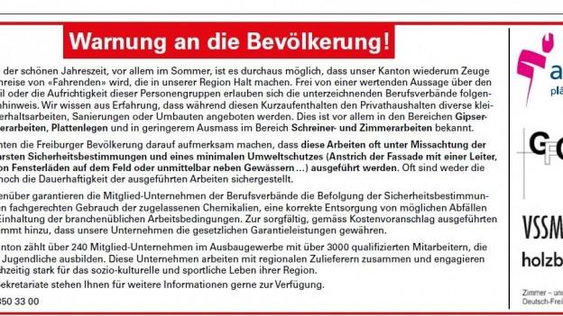 Die «Warnung an die Bevölkerung» erschien Mitte Juni 2017 in den Tageszeitungen «Freiburger Nachrichten» und «La Liberté».
