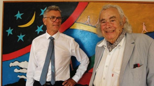 Künstler Ted Scapa (rechts) und Matthias Frehner, Kurator und Kunsthistoriker.