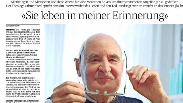 Löste heftige Reaktionen aus: das Interview mit Othmar Keel.