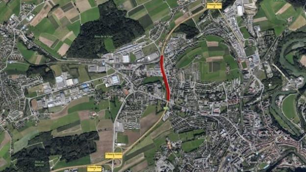 Luftaufnahme der Stadt Freiburg.