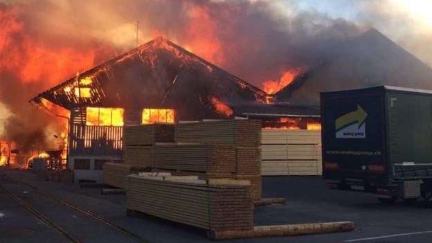 Brennende Holzhäuser