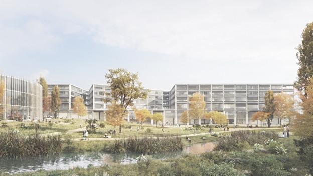 Der offengelegte Stadtbach wird das neue Campus-Gelände prägen.