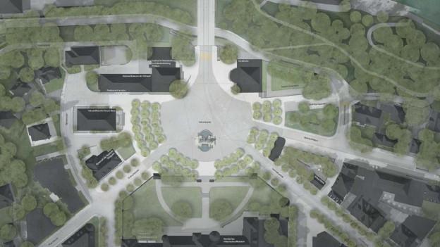Aus der Vogelperspektive wie eine Muschel: Visualisierung künftiger Helvetiaplatz Bern