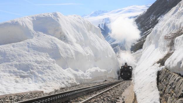 Ein Teil der Furka-Bergstrecke kann schon befahren werden.