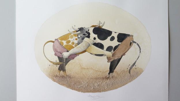 Zeichnung Kühe am Schwingen