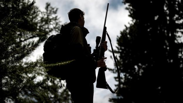 Auf dem Bild ist ein Jäger im Gegenlicht zu sehen, der ein Gewehr in der rechten Hand hält.