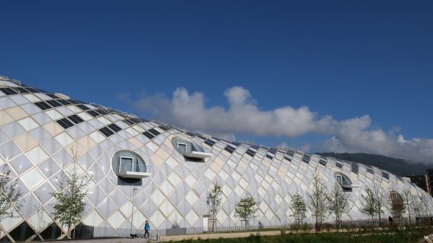 Das Gebäude ist 240 Meter lang und 35 Meter breit, es wird von einer Konstruktion getragen, die komplett aus Holz besteht.