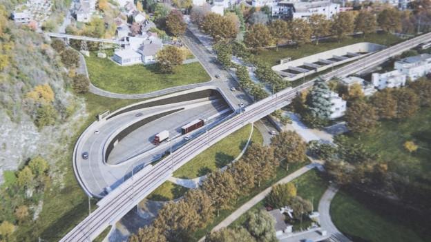 Visualisierung des Bieler Westast-Projekts.