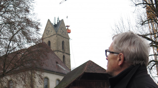 Abgebrochene Kirchturmspitze Herzogenbuchsee