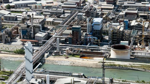 Luftbild des Lonzawerks in Visp.