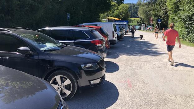 Parkierte Autos am Wohlensee.