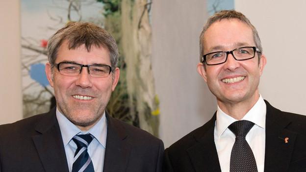 Nussbaumer (SP) und Weber (SVP) lachen nach erstem Wahlgang in Kamera.