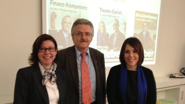Christine Frey (FDP), Oskar Kämpfer (SVP) und Sabrina Mohn (CVP).