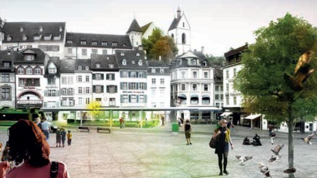 Vom Barfüsserplatz aus könnten in Zukunft die Leute unterirdisch in die Regio-S-Bahn einsteigen.
