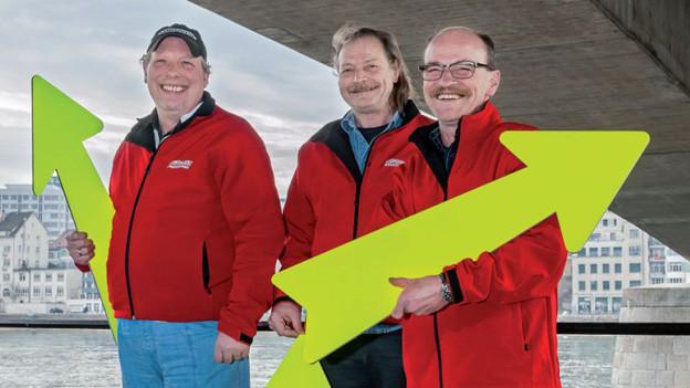 Die drei Stadtführer Wolfgang Kreibich, Rolf Mauti und Markus Christen (von links)