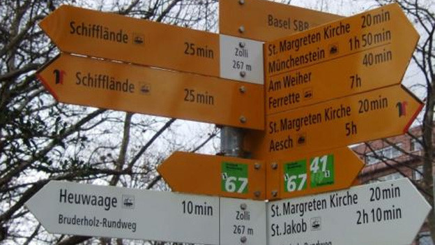 Neusignalisation der Wanderwege in Basel-Stadt.