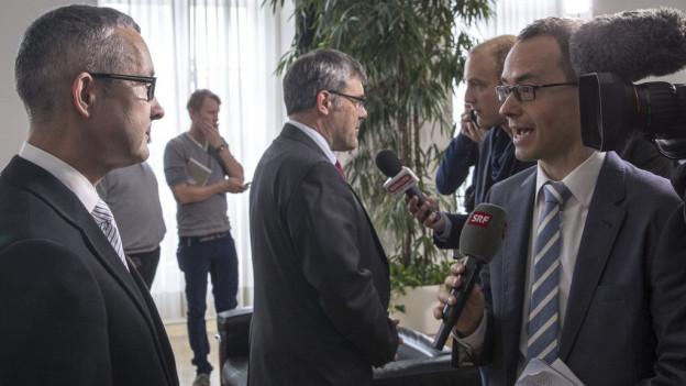 Thomas Weber beim Sieger-, Eric Nussbaumer beim Verlierer-Interview