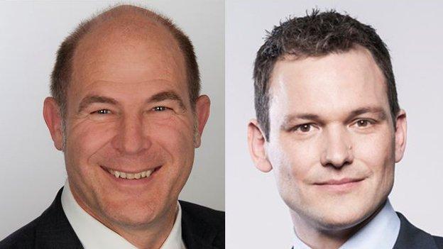 Regierungskandidaten Anton Lauber (l.) und Thomy Jourdan.
