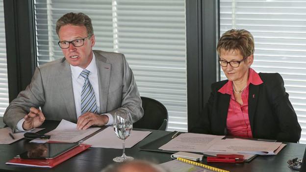 SBB-Chef Andreas Meyer und die Baselbieter Regierungsrätin Sabine Pegoraro.