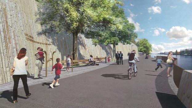So soll der Rheinuferweg nach Huningue in Zukunft aussehen.