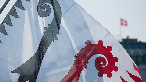 Flagge mit beiden Basler Stäben