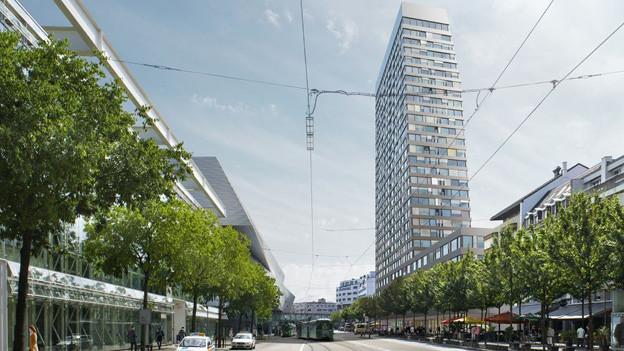 Basel stimmt über einen Wohnturm beim Messeplatz ab.