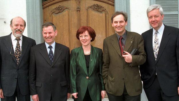 Die Baselbieter Regierung 1999 - Peter Schmid (SP) zweiter von rechts.