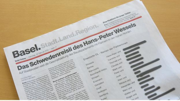 Die BaZ greift Hans-Peter Wessels an
