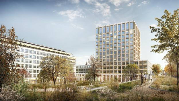 Visualisierung des Projekts Arcadia mit Spitalgarten.