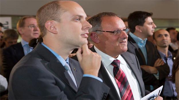Joel Thüring (links) zum neuen SVP-Kandidaten Eduard Rutschmann (rechts).
