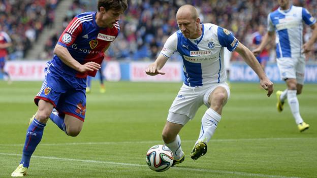 Stocker gegen Grichting im Spiel FCB-GC.