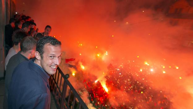 Marco Streller auf dem Balkon des Stadtcasinos