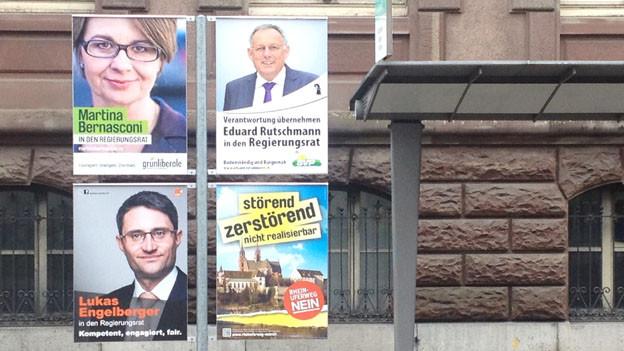 Wahlplakate bis im Juni - in Basel kommt es zum 2. Wahlgang.