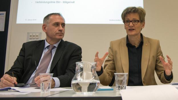 Die beiden Basler Verkehrsdirektoren Hans-Peter Wessels und Sabine Pegoraro hoffen auf Bundesgelder.