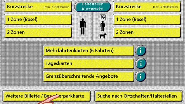 Bildschirm eines BVB Automaten