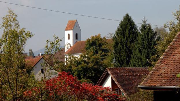 Dächer und Kirchturm Rothenfluh