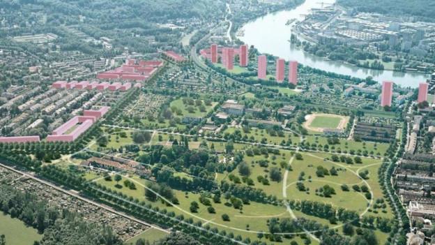 visualisierung des Ueberbauungsprojekts mit den Hochhäusern