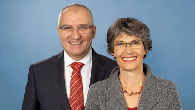 Die SP-Regierungsratskandidaten Daniel Münger und Regula Nebiker.